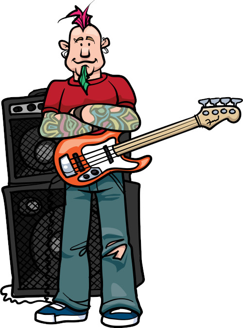 Featured Image for Rock Bass Lessons at Knoxville Bass Lessons: Cartoon of bassist with fuscia colored mohawk and green goatee crossing his arms and standing in front of an amplifier stack.