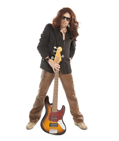 Featured Image for Southern Rock Bass Lessons at Knoxville Bass Lessons: Man with long dark hair and shades with a cross necklace posing with a J-Bass.