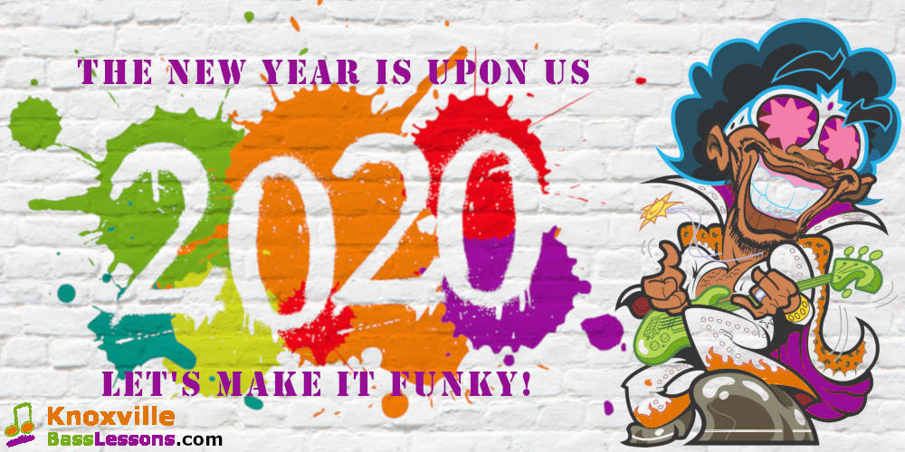 Happy New Year 2020 from Knoxville Bass Lessons. Slider photo featuring cartoon of very flashy dressed funk bassist on white brick wall background emblazoned with colorful paint splattered numbers 2020.